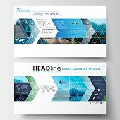 Business templates in HD format for presentation slides. Flat design blue color travel decoration layout, easy editable vector template, colorful blurred natural landscape