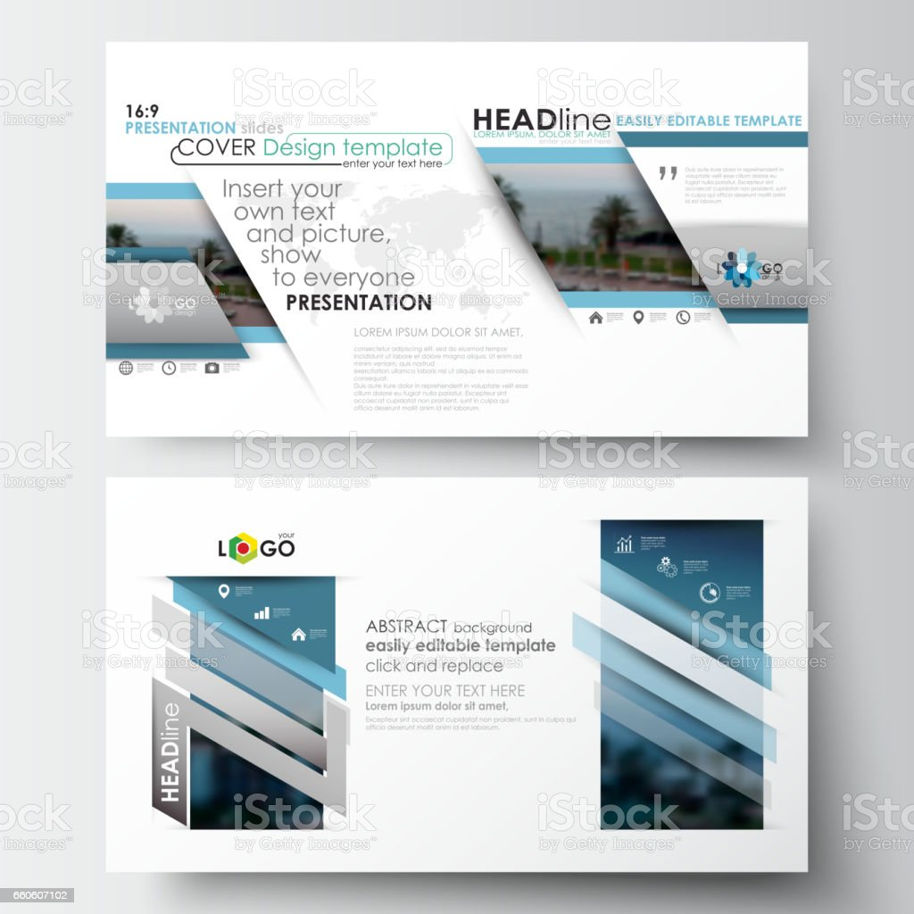 Business templates in HD format for presentation slides. Flat design blue color travel decoration layout, easy editable vector template, colorful blurred natural landscape royalty-free business templates in hd format for presentation slides flat design blue color travel decoration layout easy editable vector template colorful blurred natural landscape stock vector art & more images of abstract