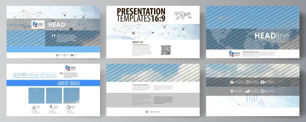 business templates in hd format for presentation slides. vector layouts - bildformate stock-grafiken, -clipart, -cartoons und -symbole