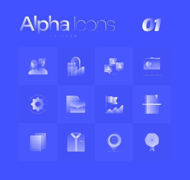 Business Theme Alpha Icons Set vector art illustration