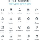 Business theme line icon set