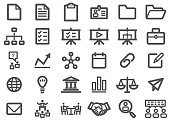 There is a set of icons about Business in the style of Thick Line.
