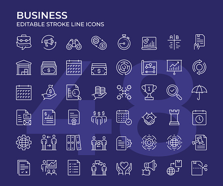 Business Thin Line Icon Set
