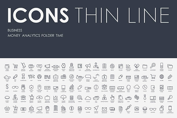 business thin line icons - business icons stock illustrations, clip art, cartoons, & icons