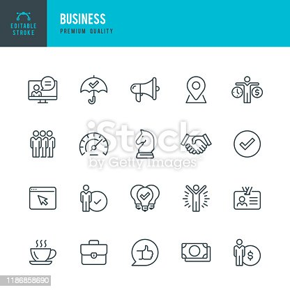 Business - thin line vector icon set. 20 linear icon. Editable stroke. Pixel Perfect. Set contains such icons as Team, Strategy, Success, Performance, Website, Handshake, Promotion, Good Idea Coffee Break.