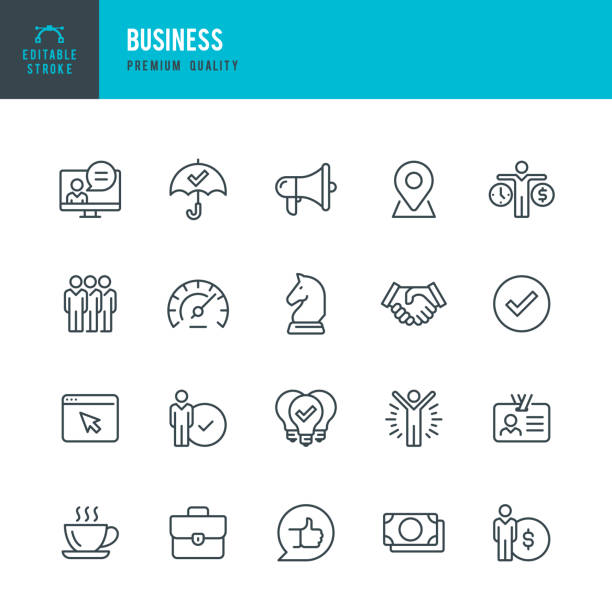 Business - thin line vector icon set. Editable stroke. Pixel Perfect. Set contains such icons as Team, Strategy, Success, Performance, Website, Handshake. Business - thin line vector icon set. 20 linear icon. Editable stroke. Pixel Perfect. Set contains such icons as Team, Strategy, Success, Performance, Website, Handshake, Promotion, Good Idea Coffee Break. impact stock illustrations