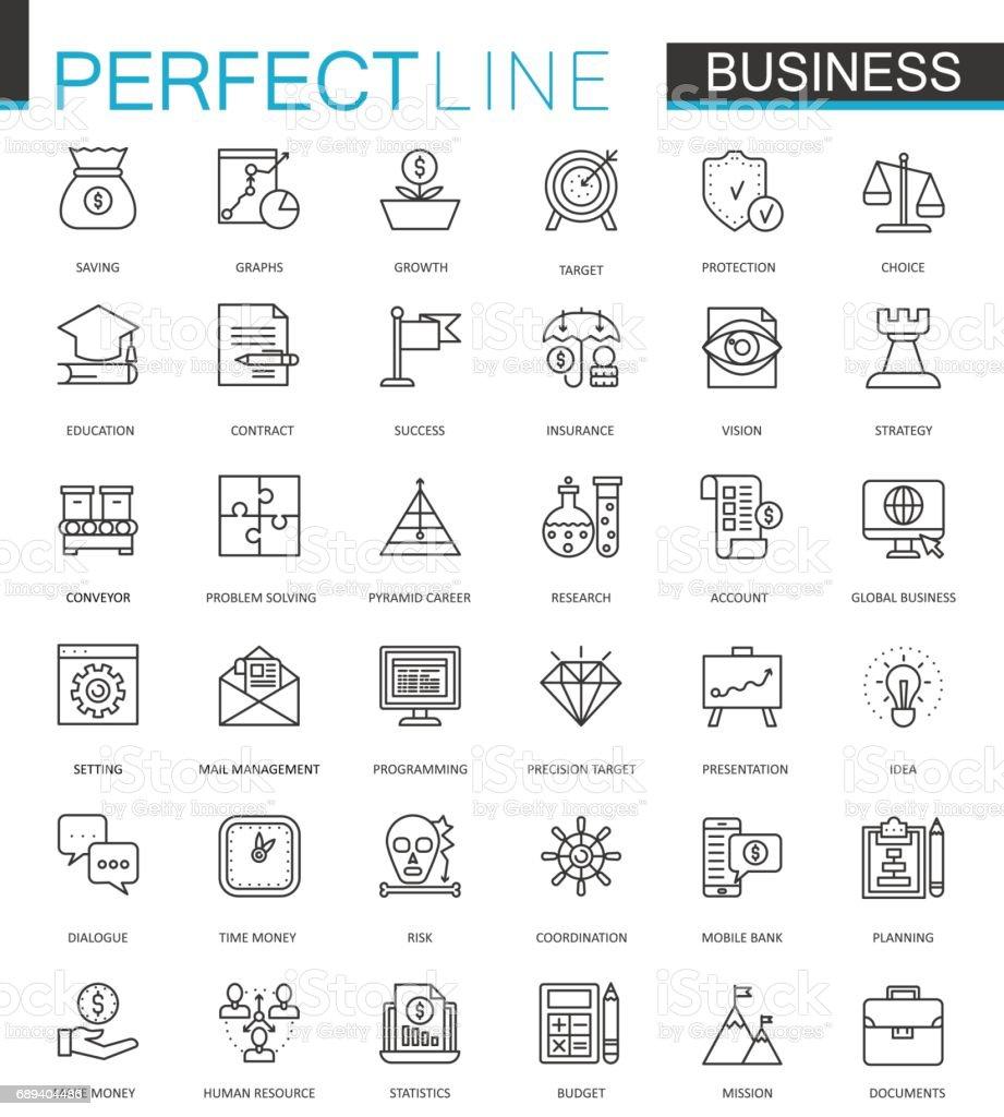 ビジネス細い線 web アイコンを設定します。ストローク アイコンのデザインの概要を説明します。 ベクターアートイラスト
