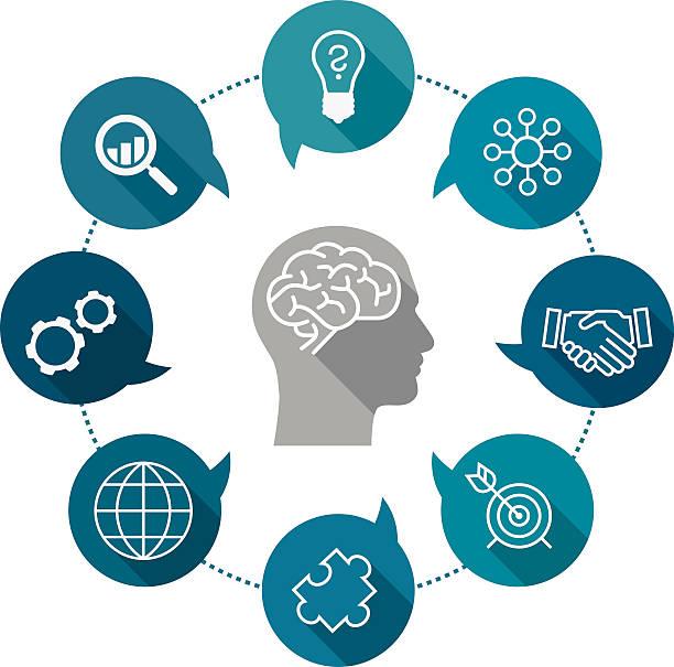 bildbanksillustrationer, clip art samt tecknat material och ikoner med business thinking icon set - brain magnifying