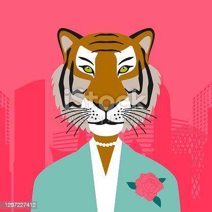 Elegant business tigress wearing a suit