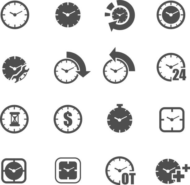 business time clock icon set vector vector art illustration