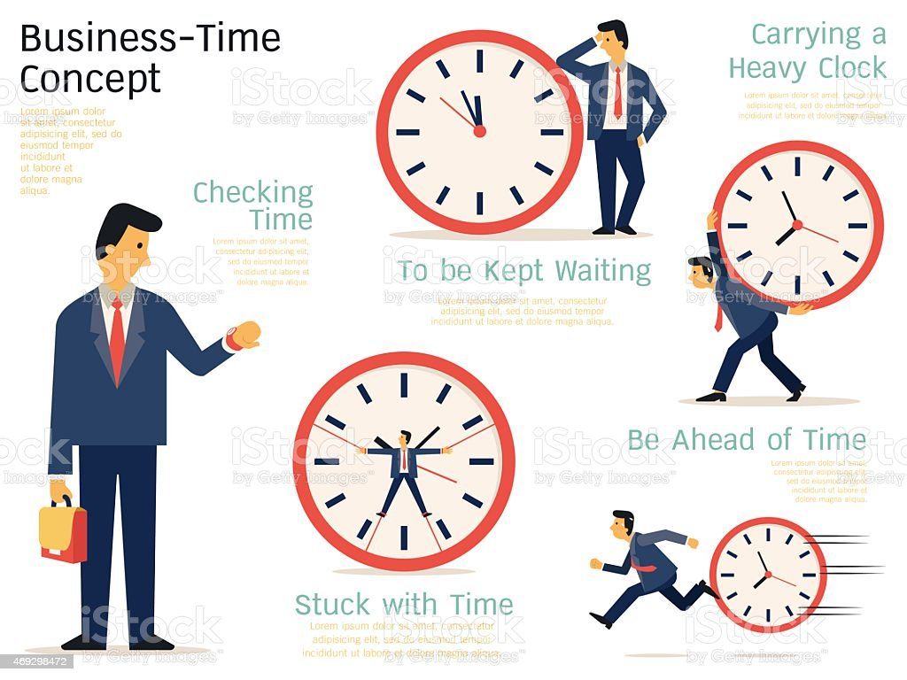 Business time concept vector art illustration