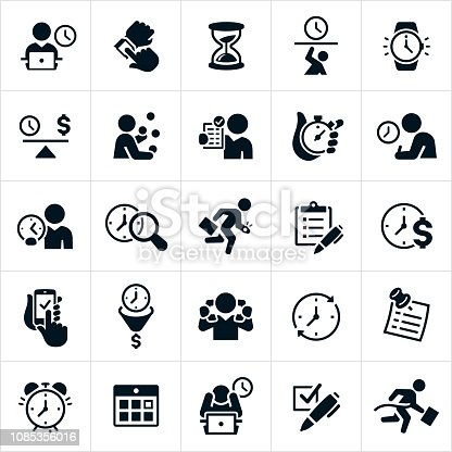 A set of time management icons as it relates to business. The icons include a businessman working on computer with a clock behind him, a person checking their watch for the time, an hourglass, time-crunch, watch, balance of time, juggling the demands of business with time allotted, checklist, stopwatch, search for time, running late, multitasking, to do list, alarm clock, calendar and winning the race against time among other time related concepts.