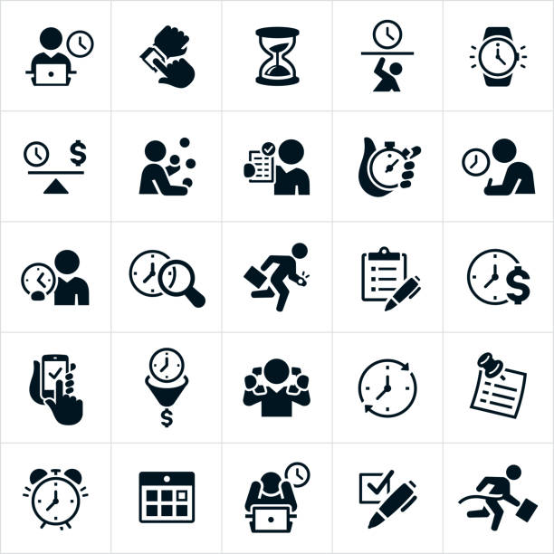 Business Time Management Icons A set of time management icons as it relates to business. The icons include a businessman working on computer with a clock behind him, a person checking their watch for the time, an hourglass, time-crunch, watch, balance of time, juggling the demands of business with time allotted, checklist, stopwatch, search for time, running late, multitasking, to do list, alarm clock, calendar and winning the race against time among other time related concepts. overworked stock illustrations