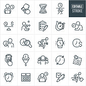A set of time management icons that include editable strokes or outlines using the EPS vector file. The icons include a business man working on laptop with a clock in the background, a person checking their watch, hourglass, person being trapped by time, a scale with a clock on one side and dollar sign on the other, a person juggling, clipboard with checkboxes, hand holding stopwatch, person taking an exam with clock in the background, business person holding a clock in his hand, a late business person running late, watch, time is money concept, business person holding two phones to ears, sticky note reminder, alarm clock, calendar, person with head in hands and clock in background, checkbox and other related icons.