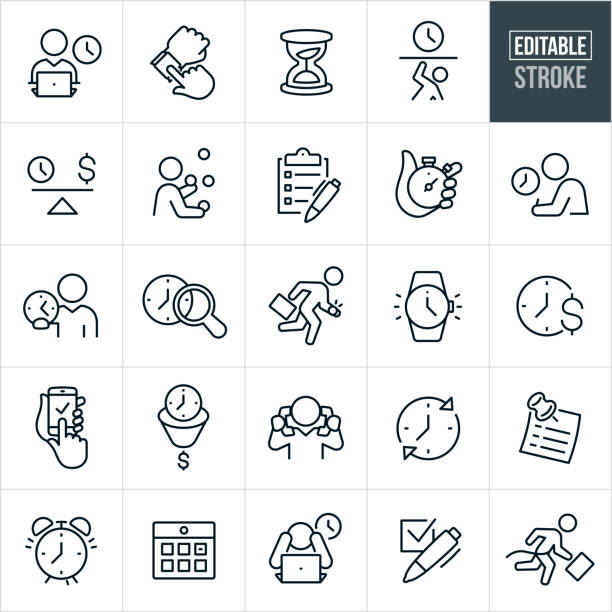 Business Time Management Thin Line Icons - Editable Stroke A set of time management icons that include editable strokes or outlines using the EPS vector file. The icons include a business man working on laptop with a clock in the background, a person checking their watch, hourglass, person being trapped by time, a scale with a clock on one side and dollar sign on the other, a person juggling, clipboard with checkboxes, hand holding stopwatch, person taking an exam with clock in the background, business person holding a clock in his hand, a late business person running late, watch, time is money concept, business person holding two phones to ears, sticky note reminder, alarm clock, calendar, person with head in hands and clock in background, checkbox and other related icons. overworked stock illustrations
