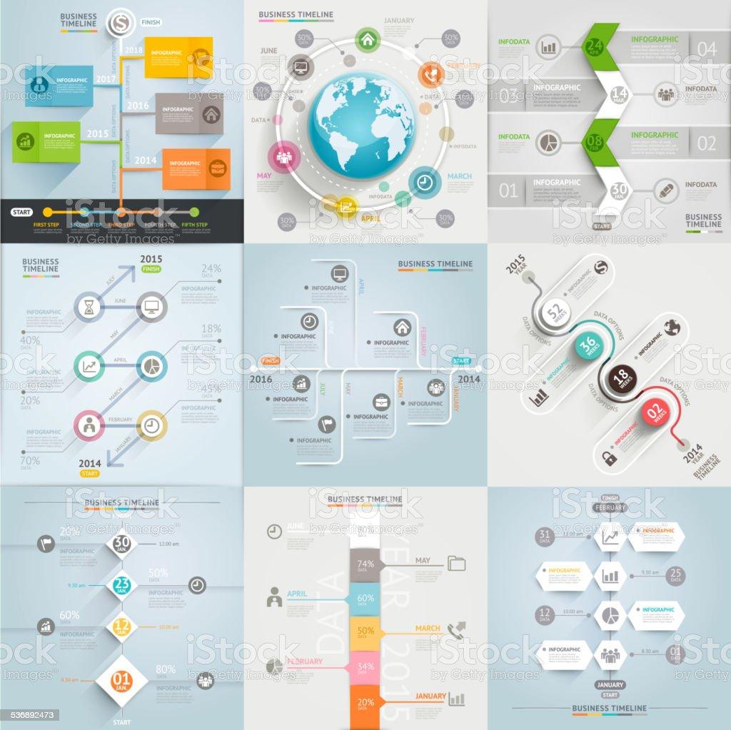 Éléments de modèle calendrier d'affaires. - Illustration vectorielle
