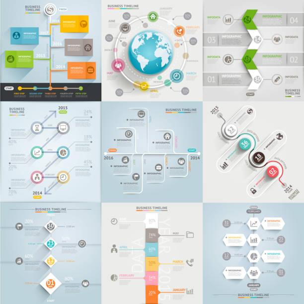 illustrations, cliparts, dessins animés et icônes de éléments de modèle calendrier d'affaires. - infographie de démographie