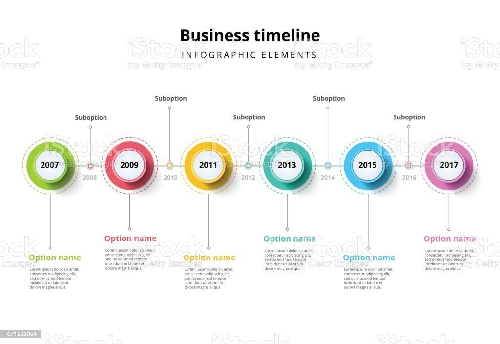 Business Timeline Im Schritt Kreise Infografiken Stock Vektor Art ...
