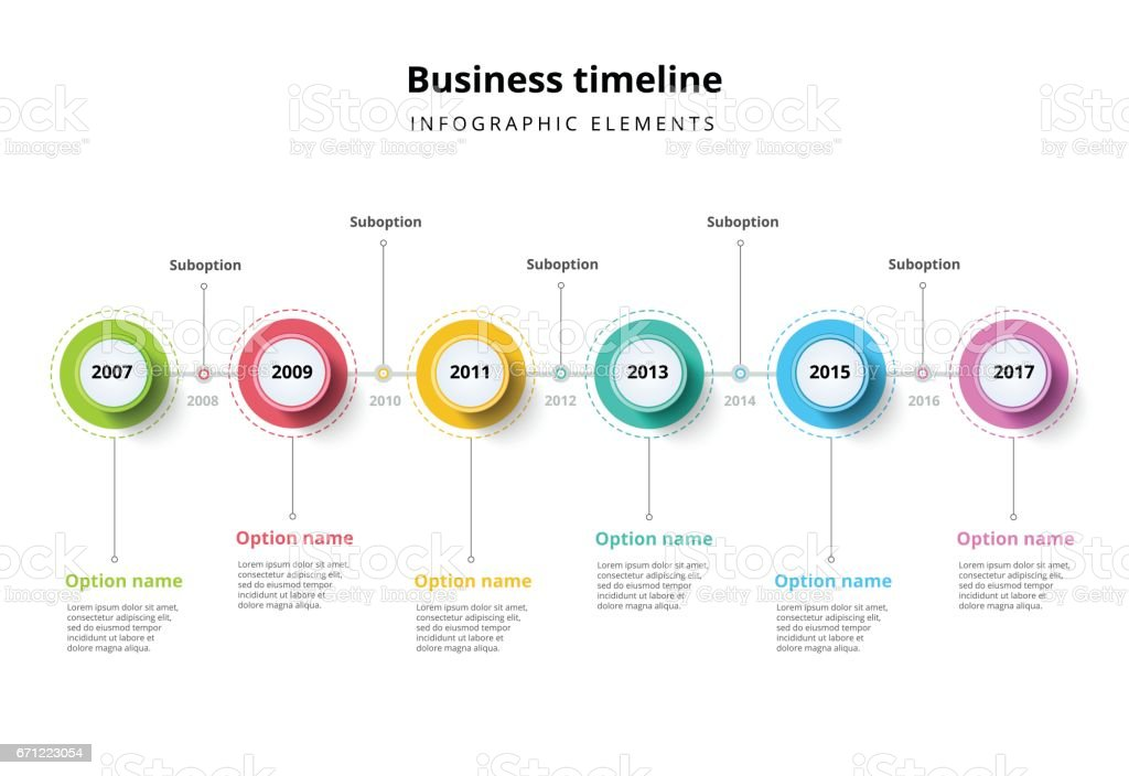 Business timeline in step circles infographics. vector art illustration