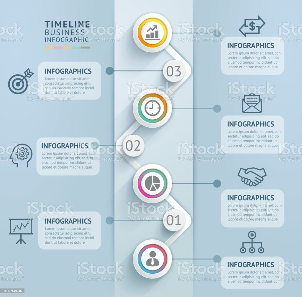 Business Timeline Info Graphic Template Stock Vector Art - Timeline graphic template