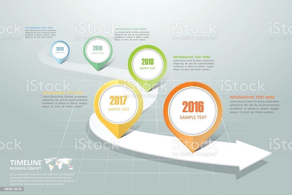 Business timeline infographic template vector art illustration