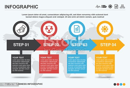 Business timeline infographic, infographic, business, timeline, icon, world map
