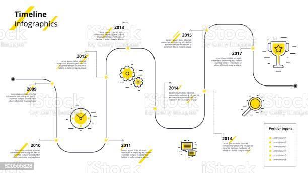 Vetores de Infográficos De Fluxo De Trabalho Do Negócio Timeline Elementos Gráficos De Metas Corporativas Empresa Apresentação Slide Modelo Com Períodos Do Ano Design De Linha Do Vetor Moderna História Tempo e mais imagens de A Data