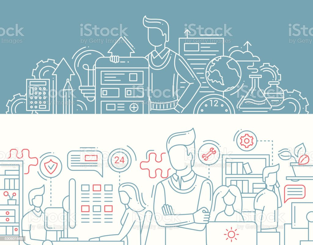 Business tools, office workers - line design banners set vector art illustration