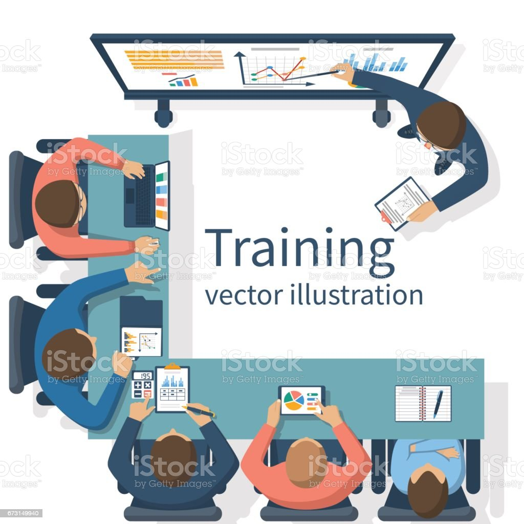 Business training concept vector art illustration