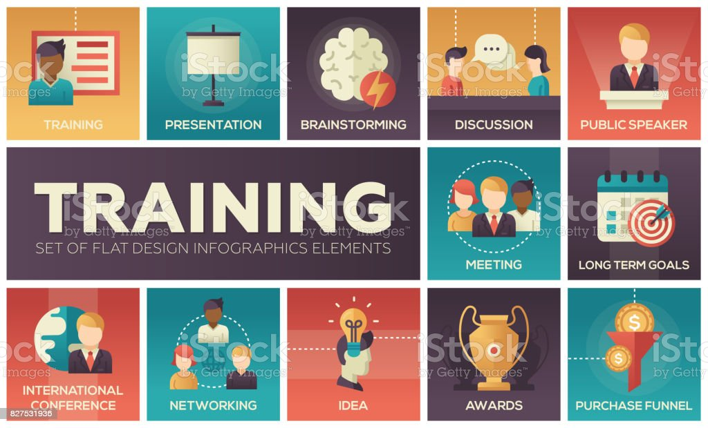 Business Training - flat design icons set vector art illustration