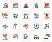 Flat line icons set of business leadership, employee training. Unique color flat design pictogram with outline elements. Premium quality vector graphics concept for web, logo, branding, infographics.