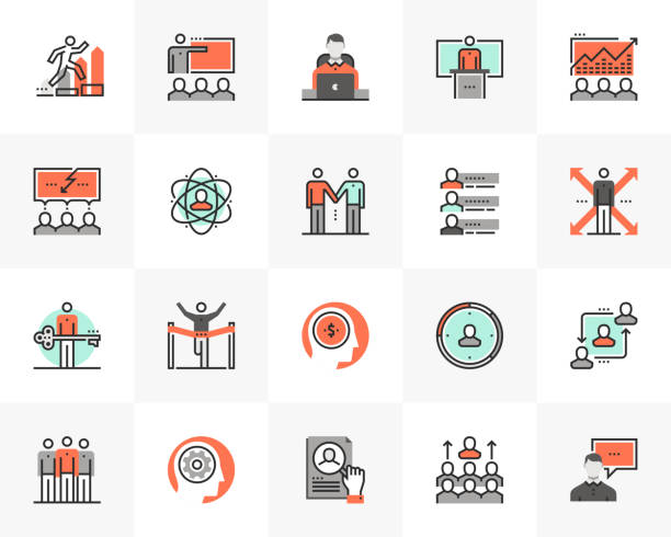 stockillustraties, clipart, cartoons en iconen met business training futuro volgende iconen pack - leader