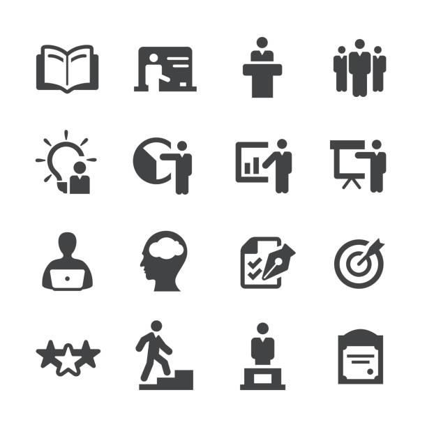 Business Training Icons Set - Acme Series Business Training Icons qualification round stock illustrations