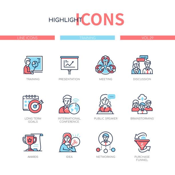 Business training - line design style icons set vector art illustration