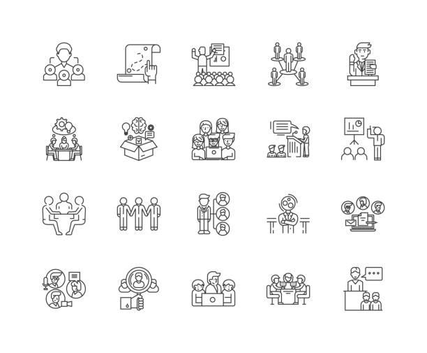 ilustraciones, imágenes clip art, dibujos animados e iconos de stock de iconos de línea de formación empresarial, signos, conjunto de vectores, concepto de ilustración de contorno - training