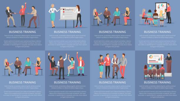 ilustraciones, imágenes clip art, dibujos animados e iconos de stock de seminarios de formación empresarial conjunto de carteles vectoriales - training