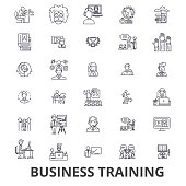 Business training, training session, learning, business meeting, presentation line icons. Editable strokes. Flat design vector illustration symbol concept. Linear signs isolated