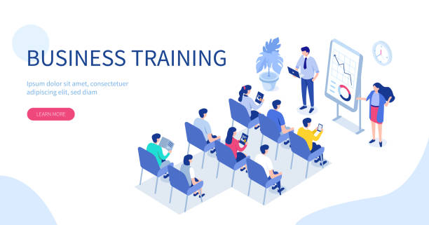 business training Business training or courses concept. Can use for web banner, infographics, hero images. Flat isometric vector illustration isolated on white background. meeting stock illustrations
