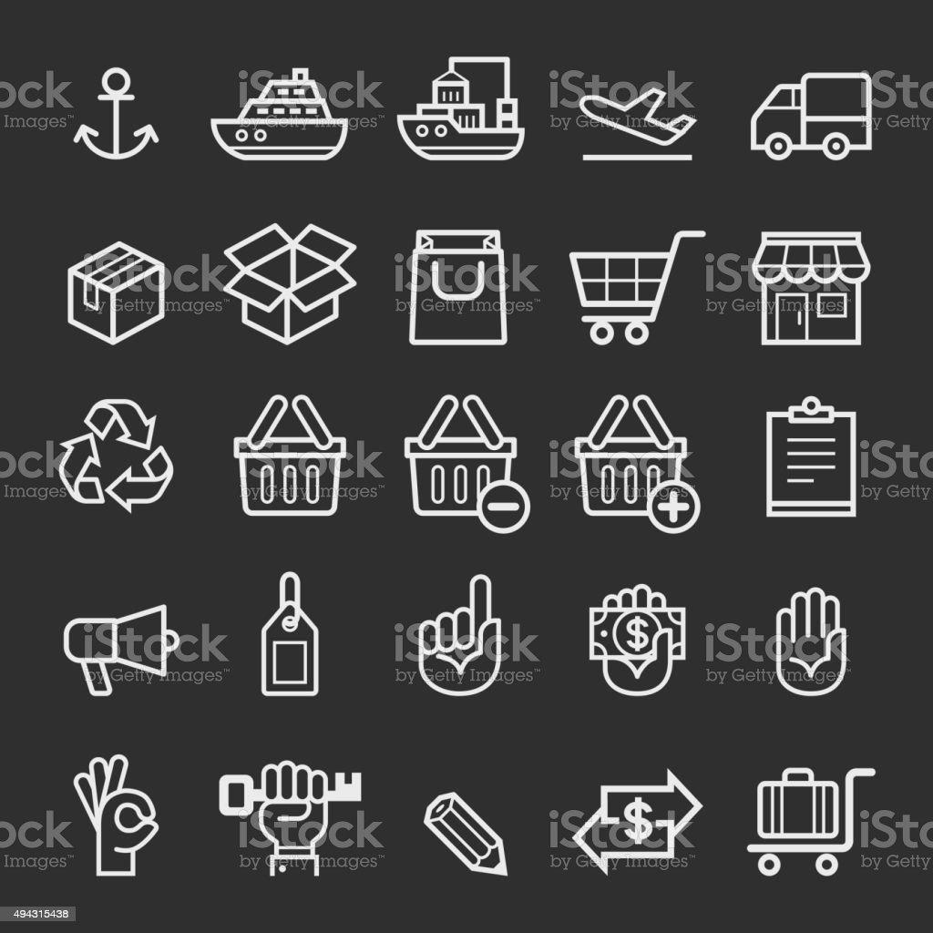 Business-Transport element Symbole. – Vektorgrafik