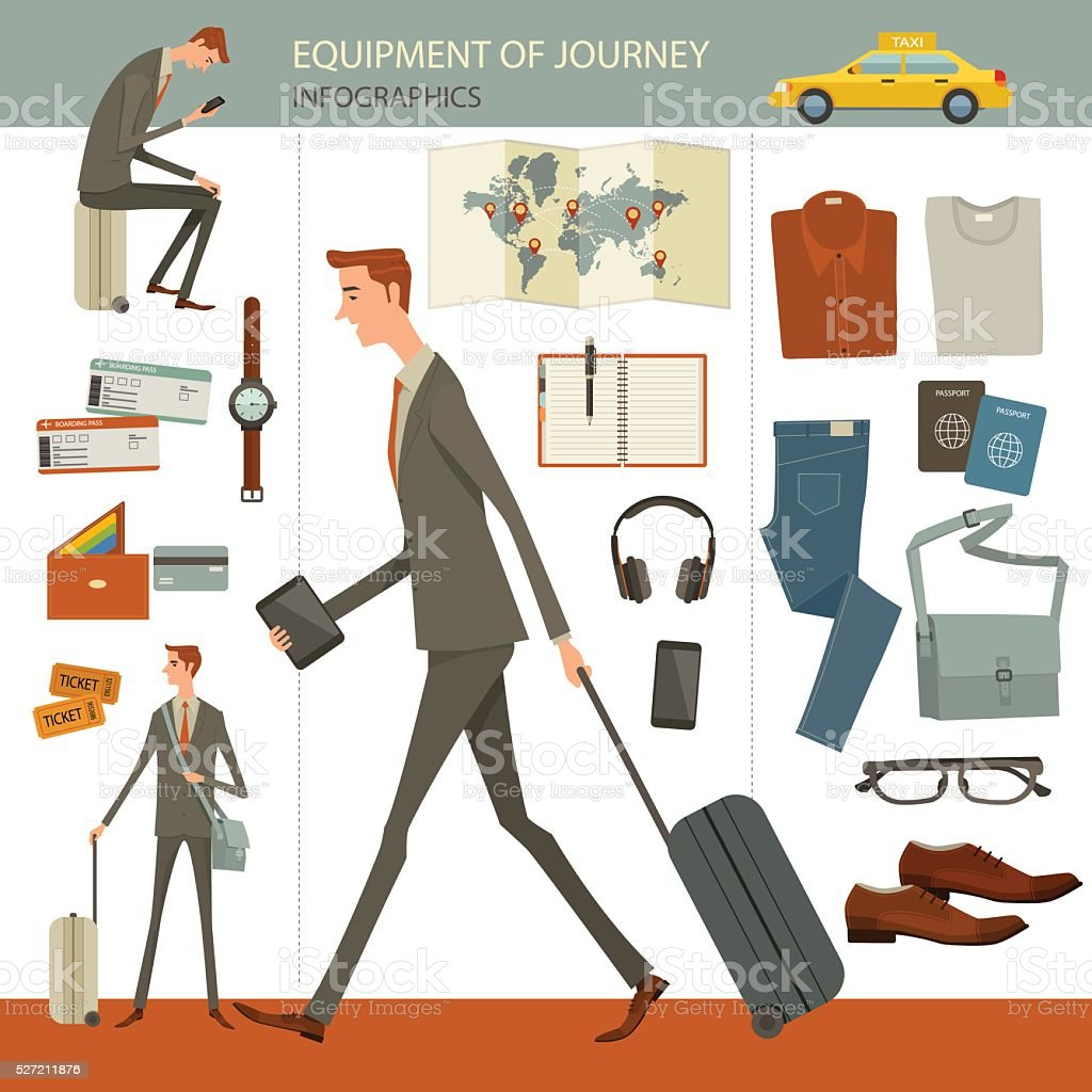 Business travel and journey set. vector art illustration