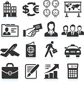 Business Travel black & white royalty free vector icon set