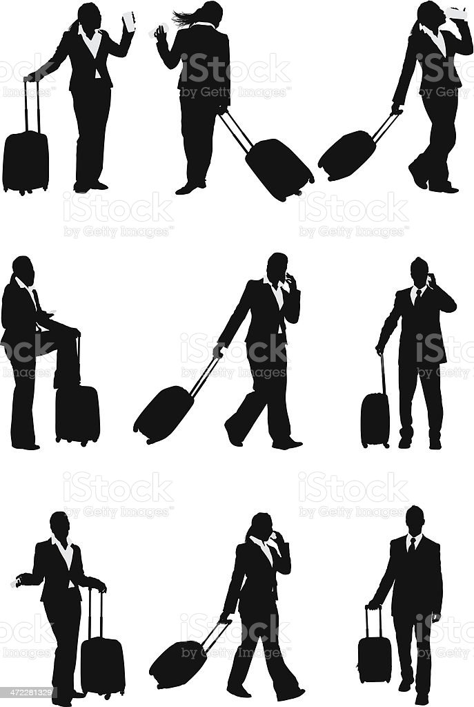 Business travel businesspeople with luggage vector art illustration