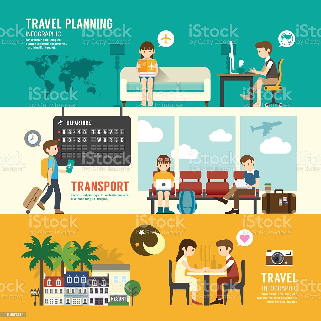 Business travel design concept people set planning, searching, vector art illustration