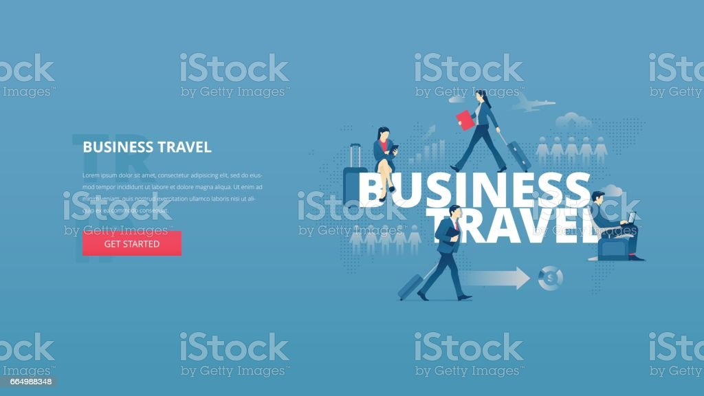 Business travel hero banner vector art illustration