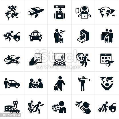 Icons related to business travel. The icons show business people at the airport, working, traveling, carrying luggage, at seminars, golfing and other business travel related concepts.