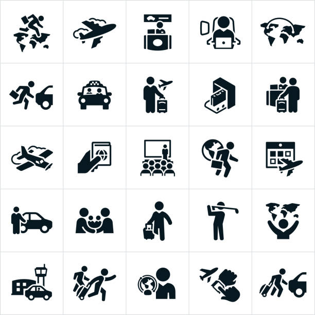 Business Travel Icons Icons related to business travel. The icons show business people at the airport, working, traveling, carrying luggage, at seminars, golfing and other business travel related concepts. airport icons stock illustrations