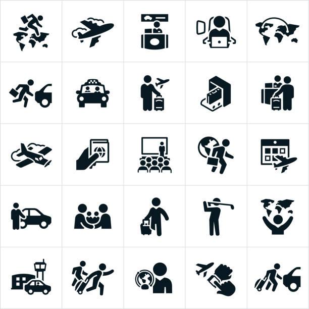i̇ş seyahat ikonları/simgeleri - airplane seat stock illustrations