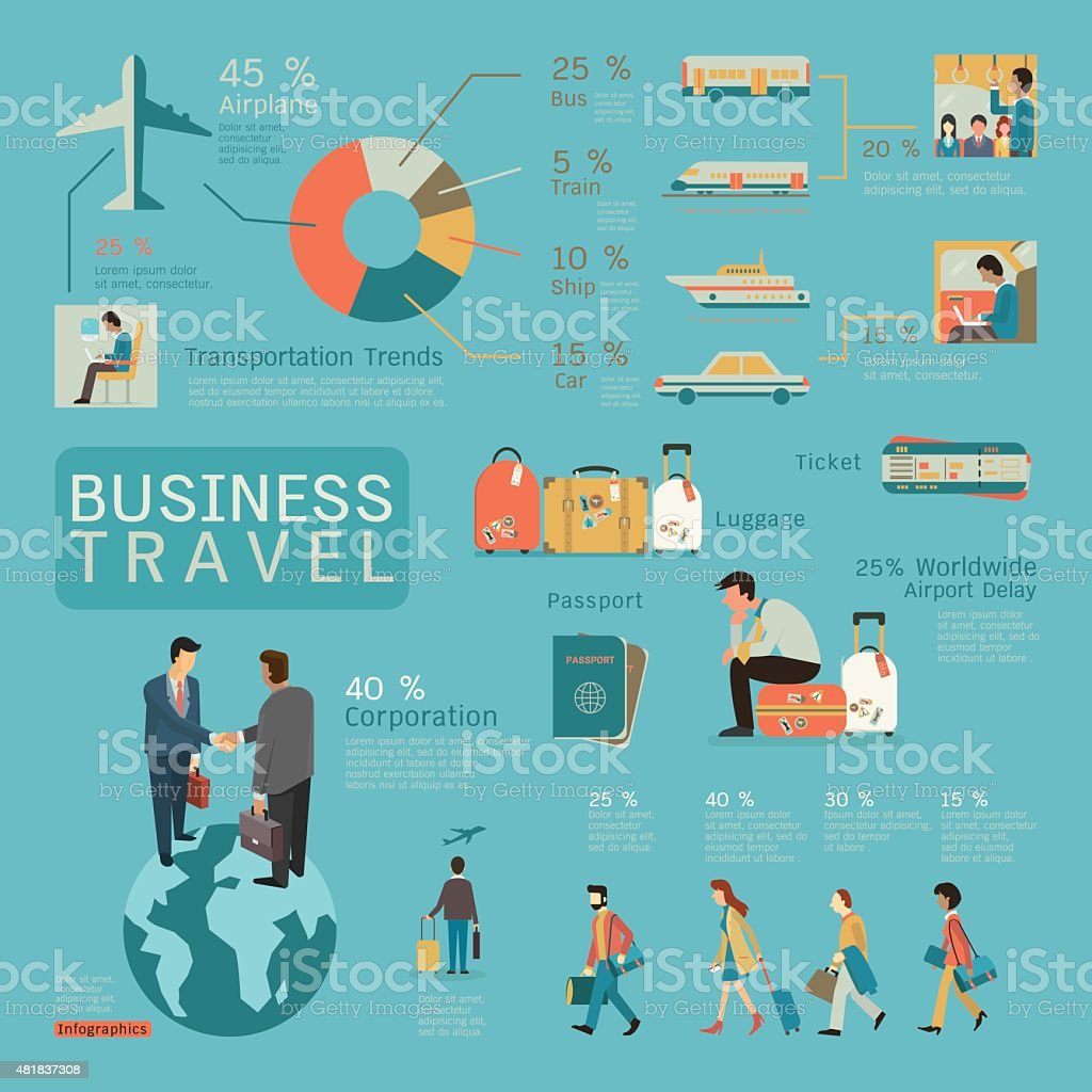 Business travel infographics vector art illustration