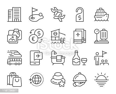 istock Business Travel - Light Line Icons 1187295971