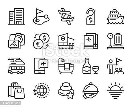Business Travel Line Icons Vector EPS File.